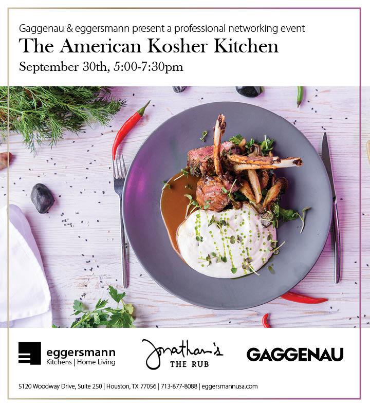 announcement for an interior design ceu event held by eggersmann houston entitle the american kosher kitchen