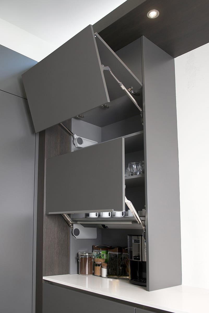 push-button opening cabinets on your coffee bar make prepping to get to school faster and easier