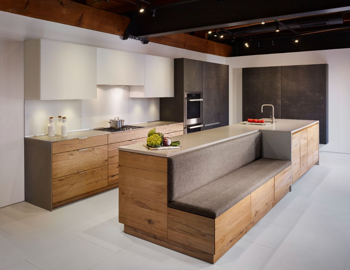upholstered bench creates seating in a german kitchen designed by eggersmann