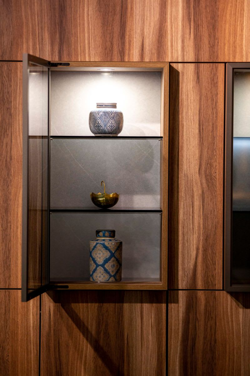 encased art display niche cabinet designed by eggersman with schmalenbach cabinetry components