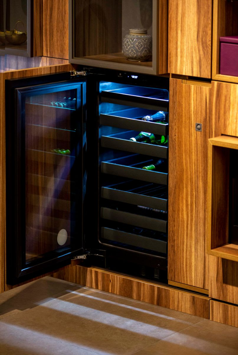 eggersmann-designed wine bar in a media unit created with schmalenbach cabinetry components