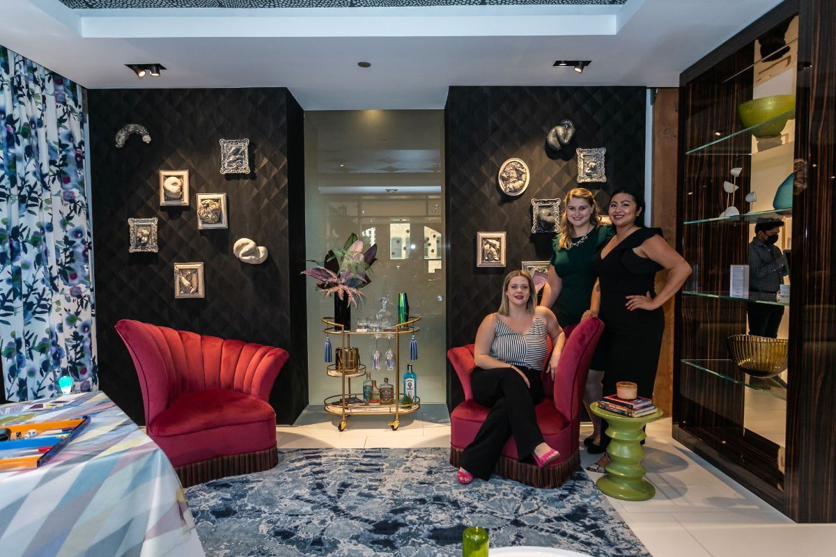 interior design vignette in the eggersmann chicago showroom desgined by sarah jacquelyn interiors