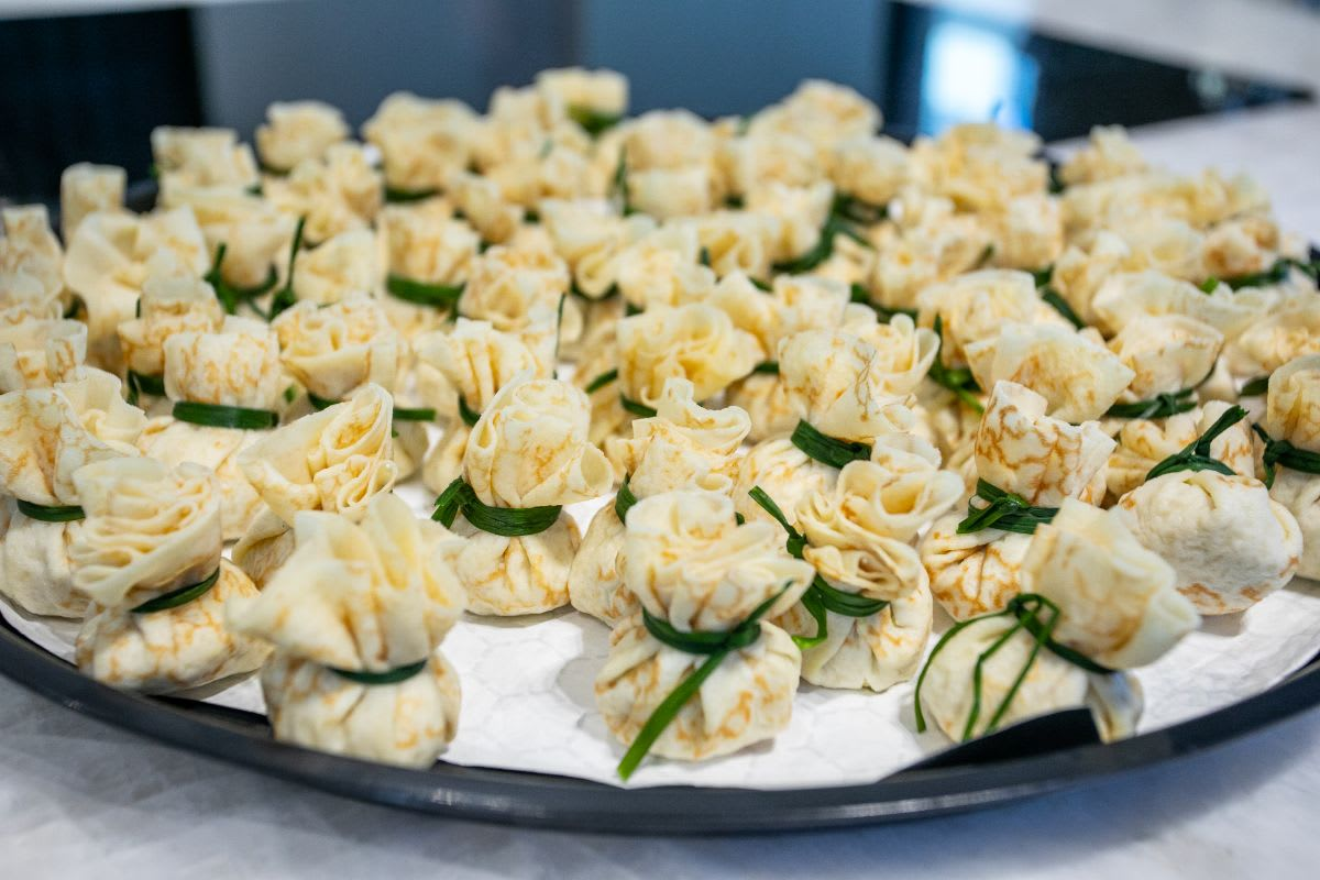 canapes served in eggersmann chicago showroom during the rndd gallery walk fall 2021