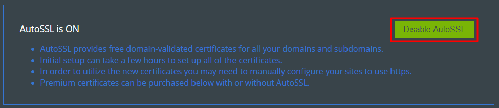 Disable AutoSSL