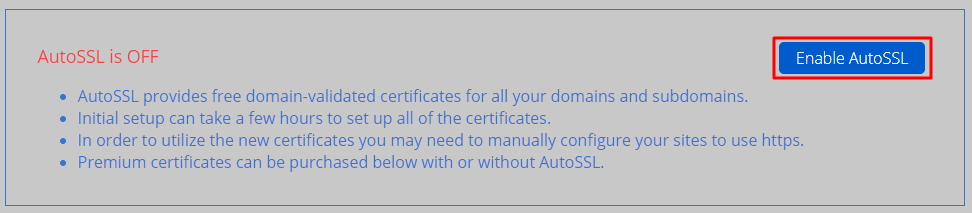 Enable AutoSSL