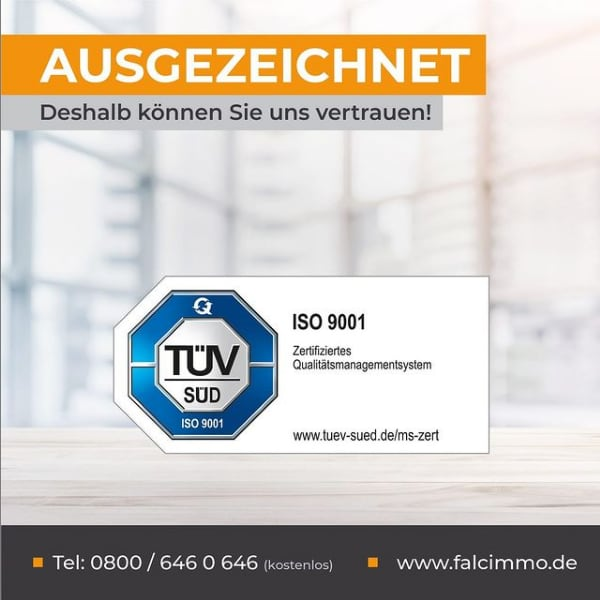 FALC Immobilien ist TÜV zertifiziert! Nach einer langen und eingängigen Prüfung durch den TÜV Süd haben wir die Zertifizierung nach ISO 9001 erlangt.  Diese Norm betrifft den Geltungsbereich der Immobilienmakler und die Erbringung von Servicedienstleistungen für Franchisenehmer in der Immobilienvermittlung, die ein Qualitätsmanagementsystem eingeführt und anwendet hat.