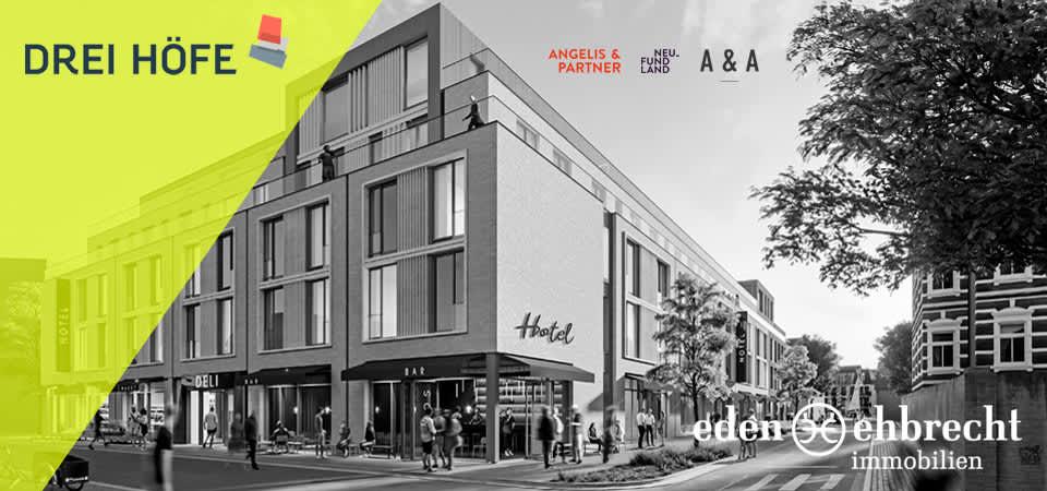 Eden-Ehbrecht Immobilien hat die Vermarktung der DREI HÖFE in Oldenburg übernommen. Gewerbe, Gastro, Büro & WOhnen. Jetzt Mieten!
