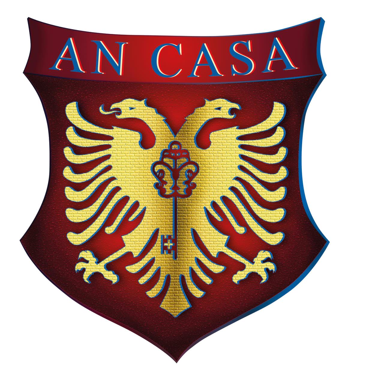 Es setzt sich aus meinem Namen und dem Italienischem Wort Haus zusammen,  ein Doppelkopf Adler mit einer Wand als Gefieder  und einem Schlüssel mit einer Kreuzprägung