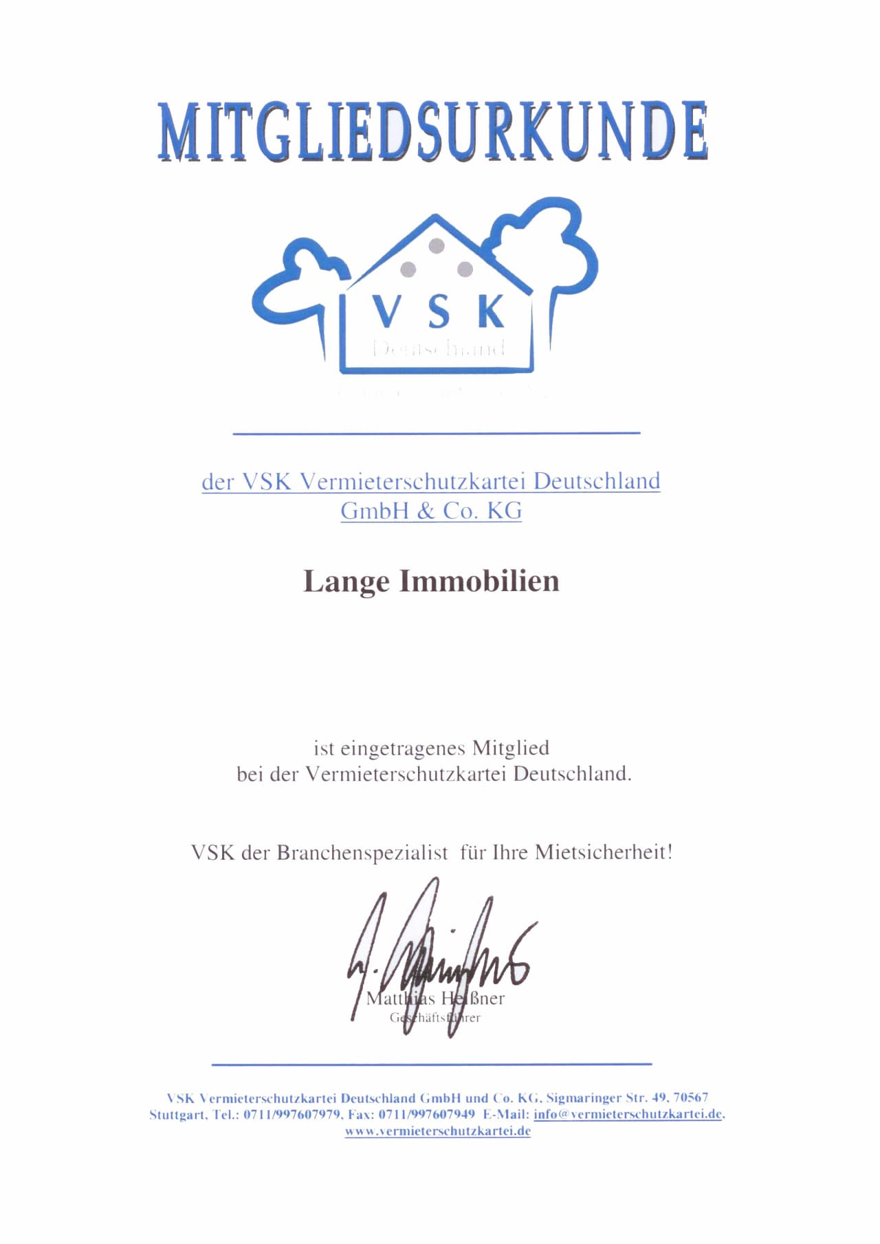 Mitglied der Vermieterschutzkartei Deutschland