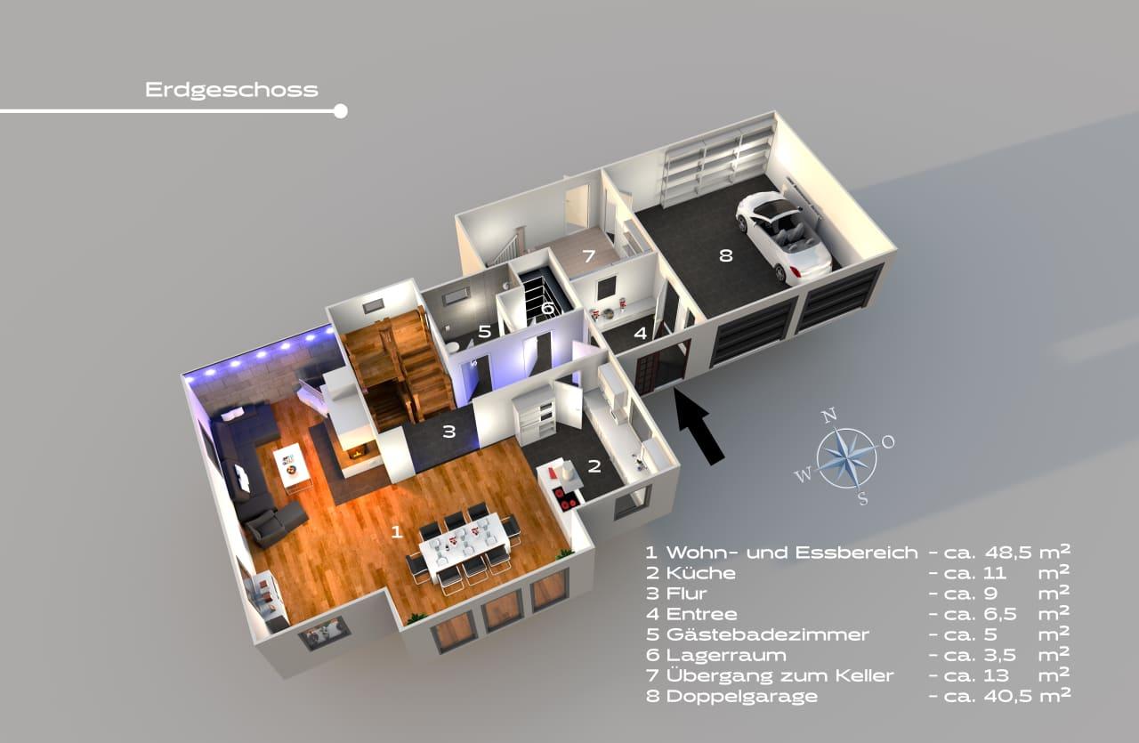 Für die bessere Visualisierung Ihrer Immobilie erstellen wir professionelle 3D-Grundrisse.