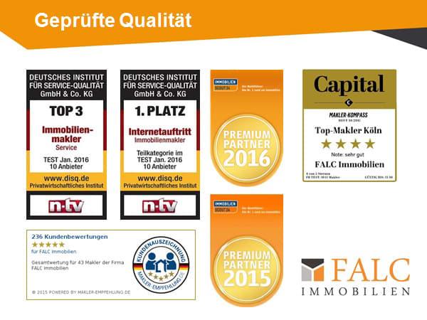 Einige Auszeichnungen der Firma FALC Immobilien