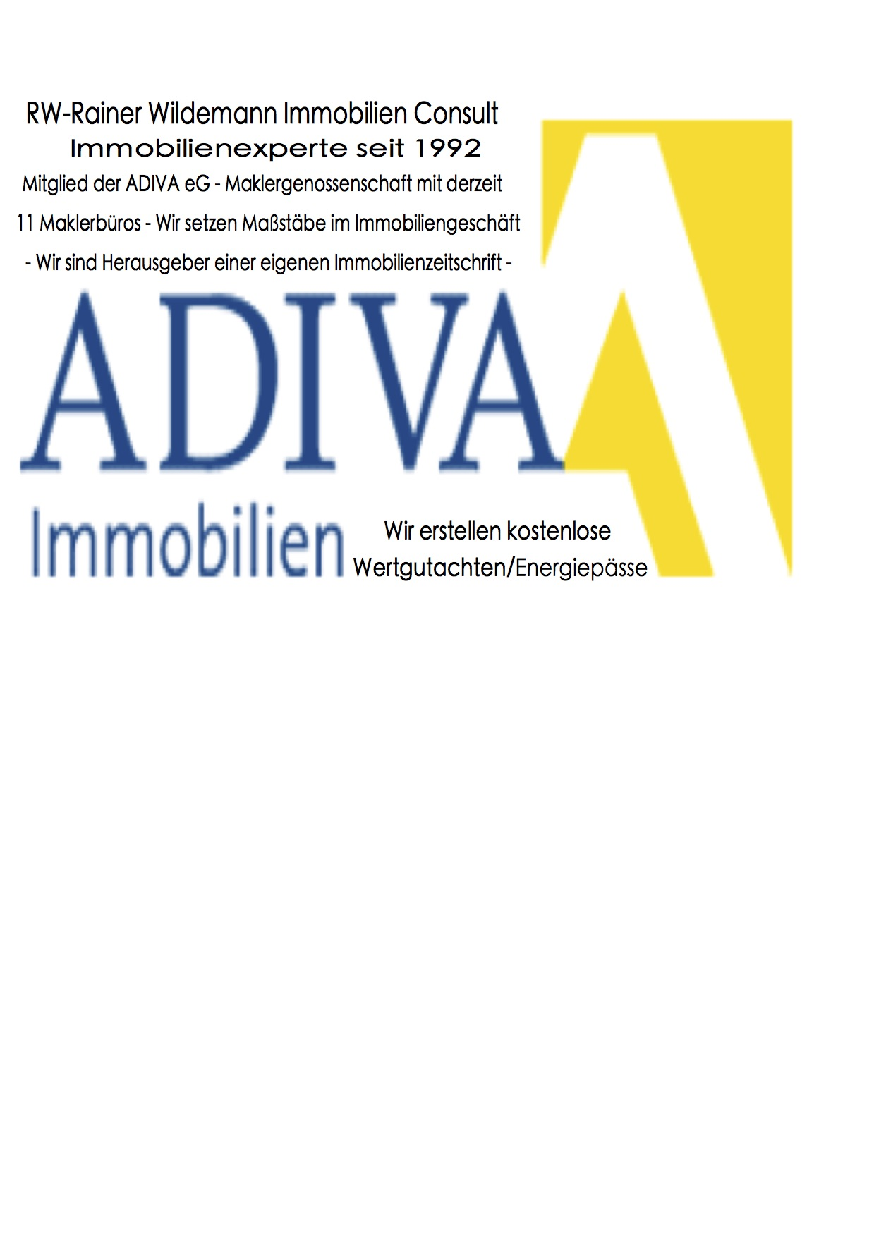 Hier sehen Sie das Logo von RW-Immobilien Consult - ADIVA eG