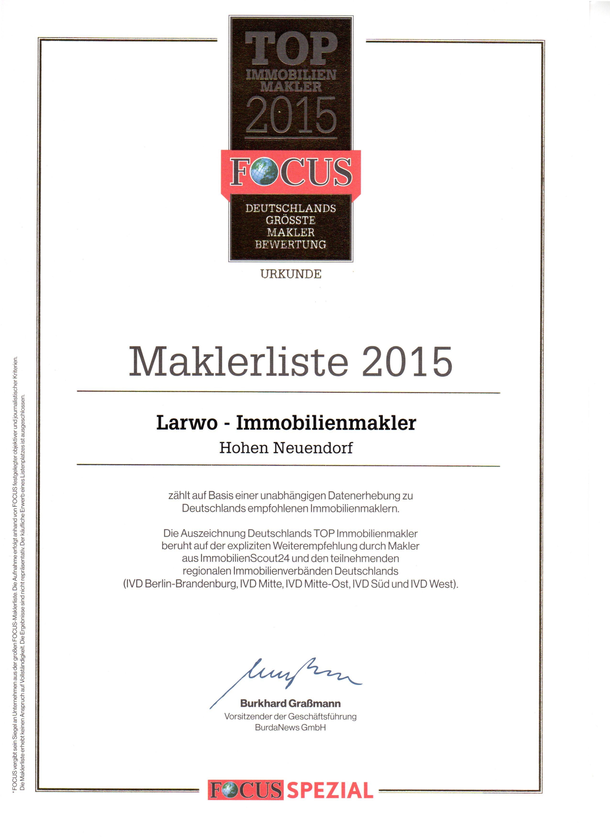 Larwo Immobilienmakler wurde zu den Top 1000 Maklerunternehmen in Deutschland gewählt.