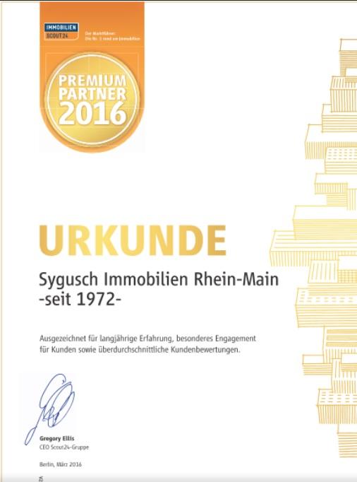 Urkunde - Immobilienscout24 - Premium Partner 2016