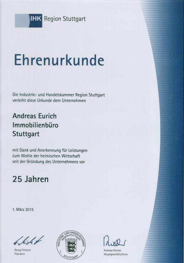 Ehrenurkunde der IHK Stuttgart