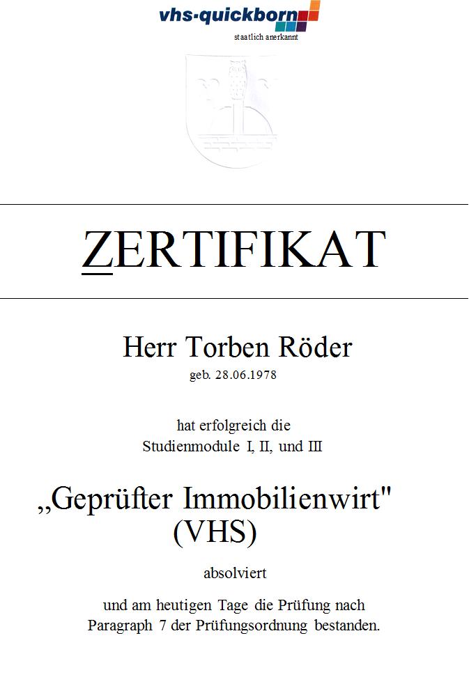 VHS Quickborn  Geprüfter Immobilienwirt
