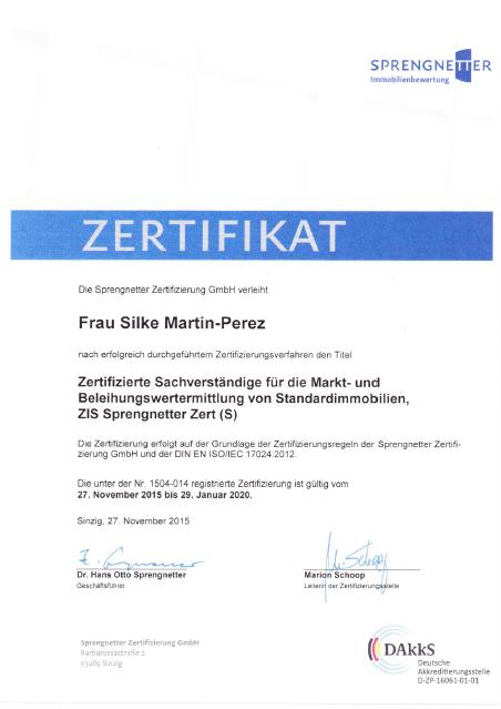 Zertifizierte Sachverständige für die Markt- und Beleihungswertermittlung von Standardimmobilien