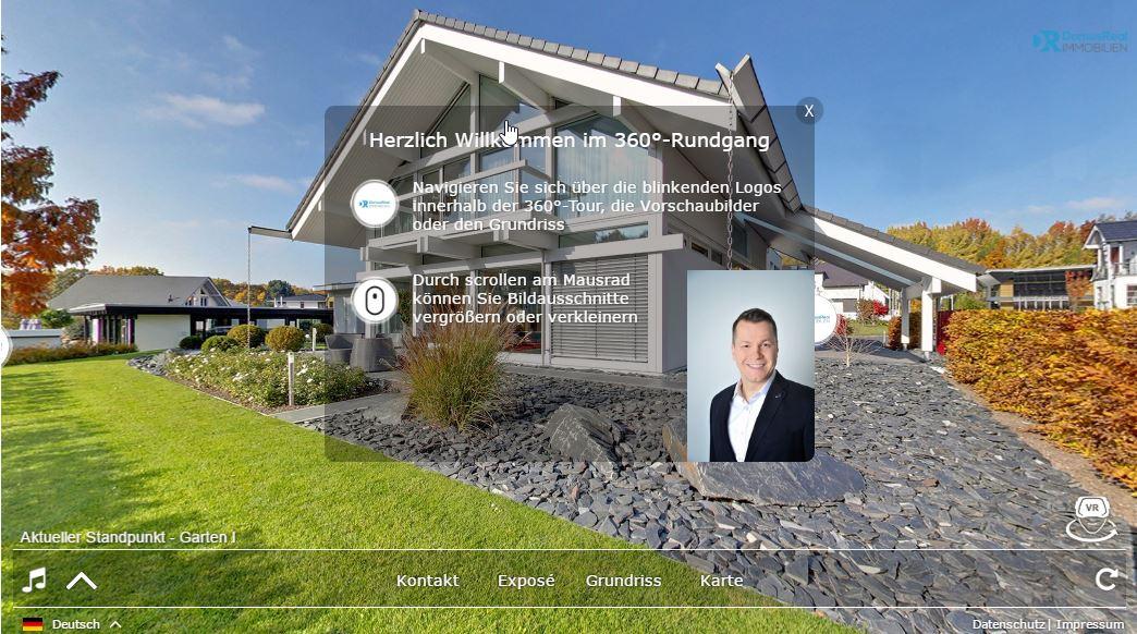 Wir haben es uns zur Aufgabe gemacht, für Sie besser zu präsentieren, effizienter zu vermarkten und noch erfolgreicher abzuschließen. Aus diesem Grund produzieren wir nach Absprache mit Ihnen einen virtueller 360° Rundgang für Ihre Immobilie.