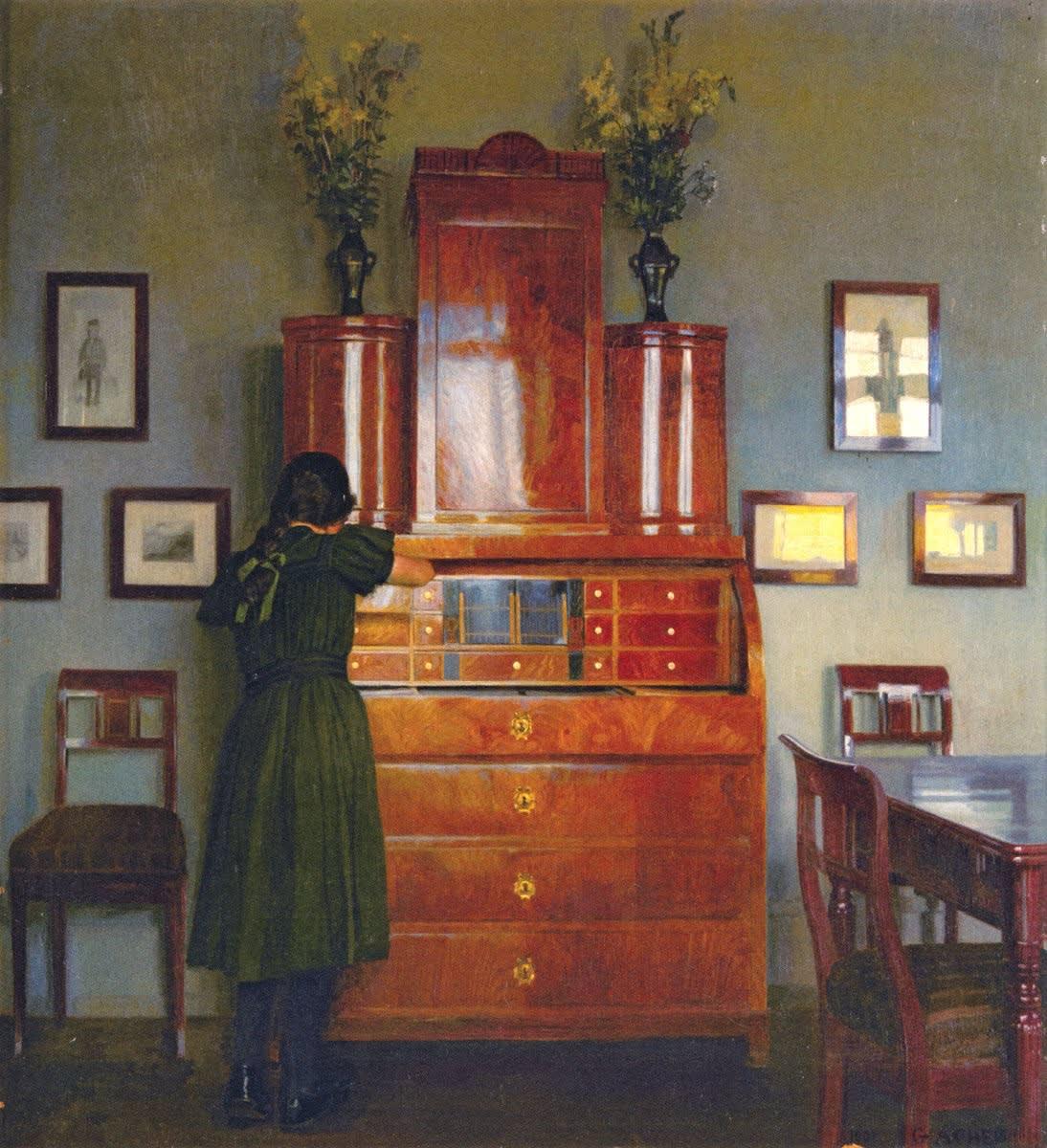 ギーオウ・エーケン 飴色のライティング・ビューロー 1901