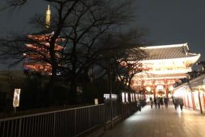 浅草寺夜 アプローチ