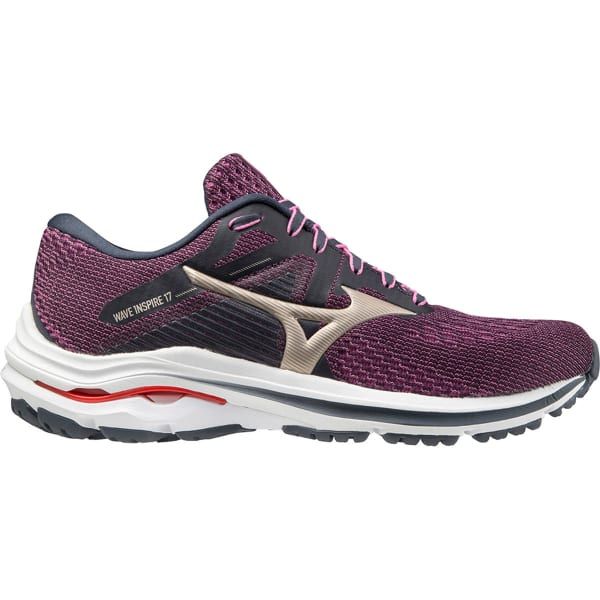 MIZUNO Chaussure running Wave Inspire 17 W India Ink/platinum Gold/ignition Red Femme Violet/Blanc taille 4