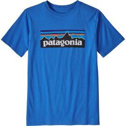 PATAGONIA BOYS' P-6 LOGO ORGANIC T-SHIRT BAYOU BLUE 21