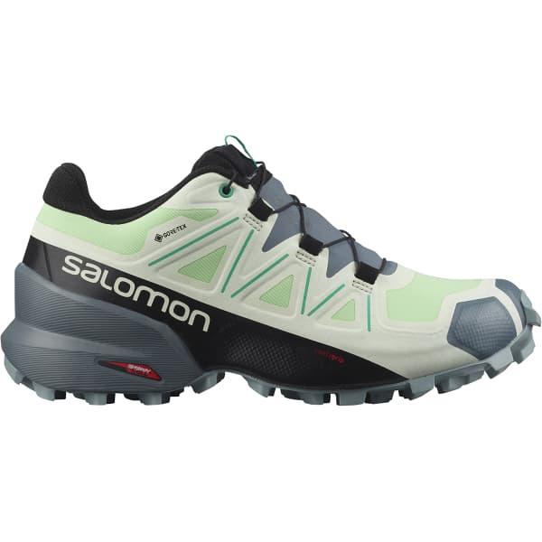 SALOMON Chaussure trail Speedcross 5 Gore-tex W Pgreen/stormy Weather/peacock Green Femme Gris/Vert/Blanc taille 3.5