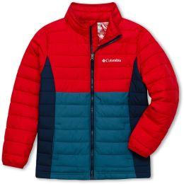 COLUMBIA POWDER LITE™ BOYS JACKET BLUE HERON MOUNTAIN RED COLL NAVY 19