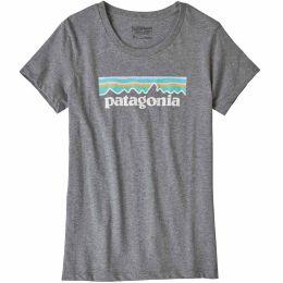PATAGONIA GIRLS' PASTEL P-6 LOGO ORGANIC T-SHIRT GRAVEL HEATHER 20