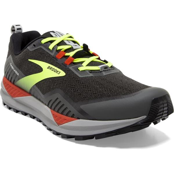 BROOKS Chaussure trail Cascadia 15 Black/raven/cherry Tomato Homme Gris/Jaune taille 8.5