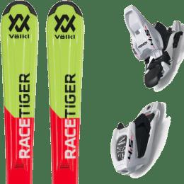 Pack ski alpin VOLKL VOLKL RACETIGER RED JR FLAT 19 + MARKER M 4.5 JR EPS 70MM WHITE/BLACK 19 - Ekosport