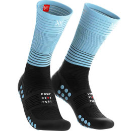 COMPRESSPORT MID COMPRESSION SOCKS BLACK/ICEBLUE 19