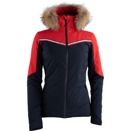 DEGRÉ 7 SASSIERE SKI JACKET 20K PRIMALOFT BLACK REAL FUR DARK BLUE 20