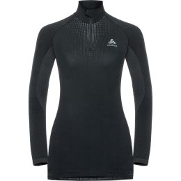 ODLO T-SHIRT ML 1/2 ZIP PERFORMANCE WARM W BLACK - ODLO CONCRETE GREY 20