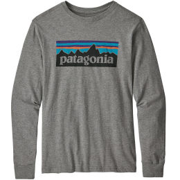 PATAGONIA BOYS' L/S GRAPHIC ORGANIC T-SHIRT P-6 LOGO GRAVEL HEATHER 21