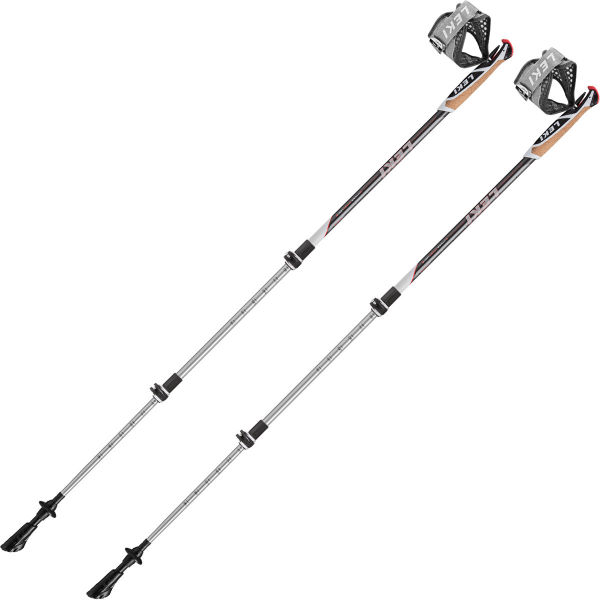 LEKI Bâton de trail Traveller Alu 90-130 Cm Dark-light-anthracite-wht-neonred Gris/Blanc Unique