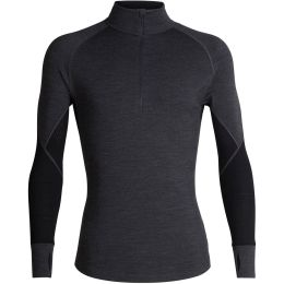 ICEBREAKER MENS 260 ZONE LS HALF ZIP JET HEATHER/BLACK 21