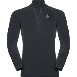 ODLO T-SHIRT ML 1/2 ZIP PERFORMANCE WARM BLACK - ODLO CONCRETE GREY 20