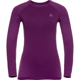 ODLO PERFORMANCE WARM ECO BL TOP CREW NECK L/S W CHARISMA - PRPL CACTUS FLWR 21