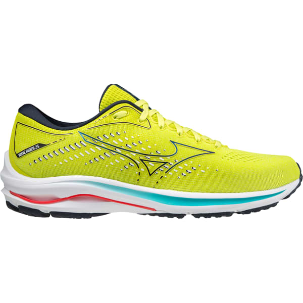MIZUNO Chaussure running Wave Rider 25 Sunny Lime / Sky Captain / Ignition Red Homme Jaune taille 6.5