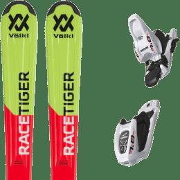 Pack ski alpin VOLKL VOLKL RACETIGER RED JR FLAT + MARKER 7.0 JR 70MM WHITE/BLACK - Ekosport