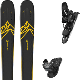 Pack ski alpin SALOMON SALOMON QST 92 DARK BLUE/YELLOW 20 + SALOMON WARDEN MNC 11 BLACK L90 21 - Ekosport