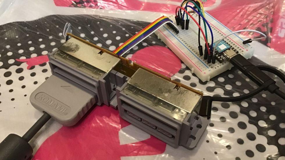「PS1のDDRマット用 USBキーボード変換器」の製作 (XIAO, Python)