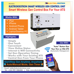Electrokristron Smart Wireless Gen Control Unit