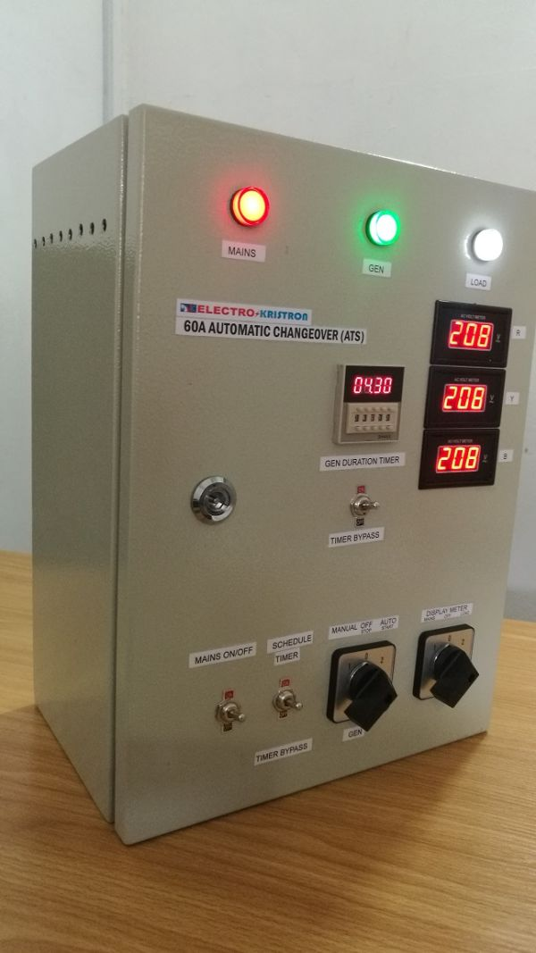 60A Electrokristron Automatic Changeover ATS for 2 power sources with Gen Timers 3 phase or single phase in Steel enclosure