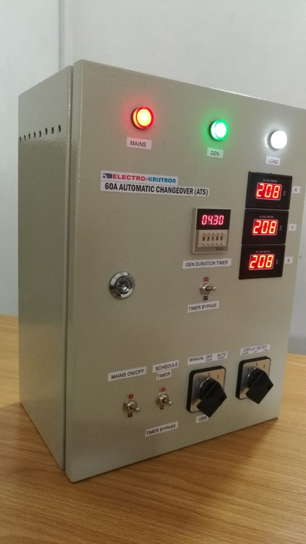 60A 3-Phase or 1-Phase Automatic Changeover for 2 Power Sources - With Gen Timer, Steel Enclosure