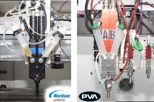 Two Component (2K) Conformal Coatings Put To The Test Nordson-Asymtek-and-PVA-2K-applicator-heads