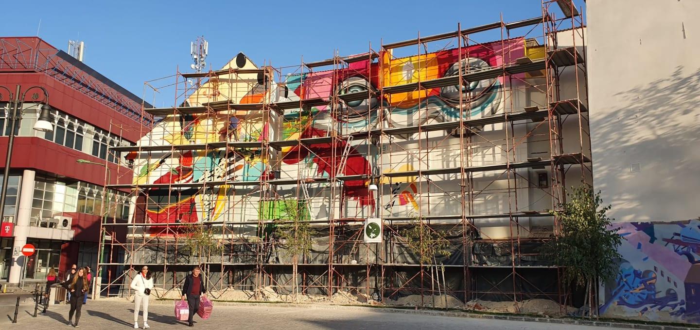 Mural în Centrul Istoric din Brașov. Work in progress