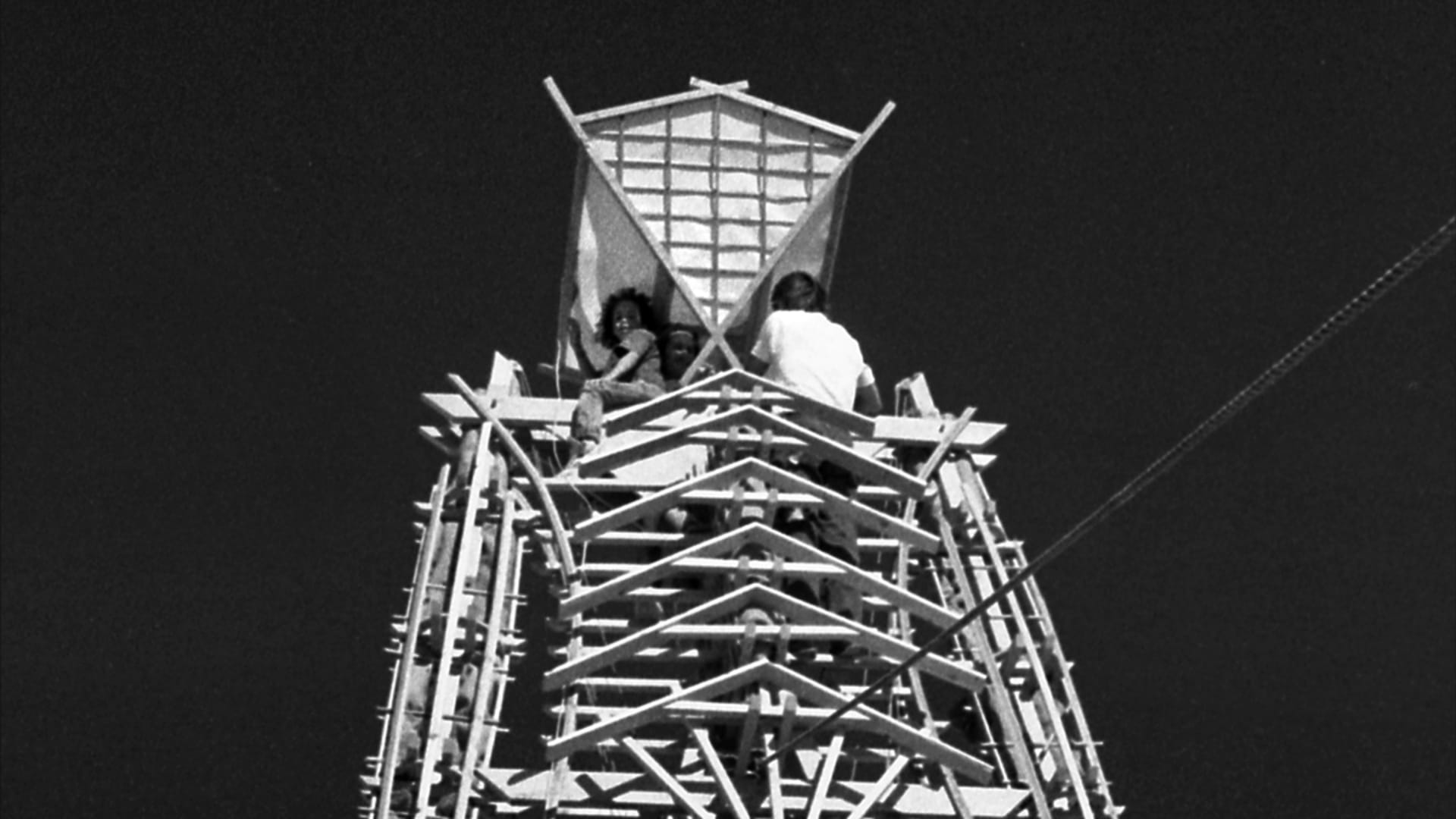 12 meters tall and build to burn. The wooden effigy back in 1990. By Stewart Harvey
