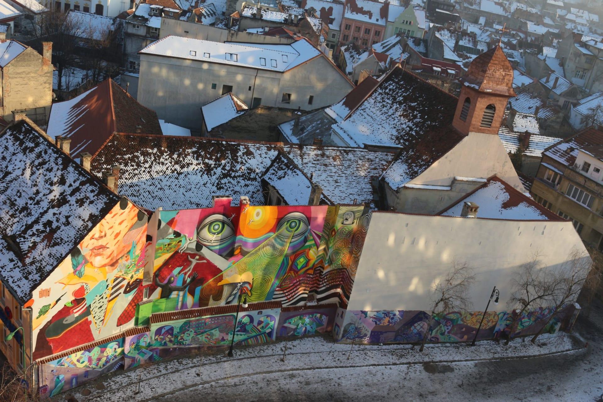 Mural în Centrul Istoric din Brașov